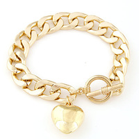 2014 New Punk Gold Alloy Cuff Bracelets for Women Men Jewelry Love Heart Pendant Charm Pulseiras Femininas Masculina Bijoux