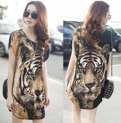 Summer New Arrival,Women Sexy Leopard Mini Dress,Short Sleeve Tiger Dress,Fashion Lion Dress,100% Best Quality,Size S/M/L(China (Mainland))
