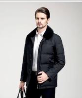 Quinquagenarian male winter down coat male thickening medium-long down coat fur collar outerwear