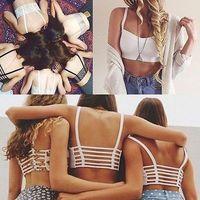 2014 New Sexy Women Hollow out Crop Tops Padded Bra Summer Sport Vest Beach Bralette Tank Tops Cut Out Camisole Shirt