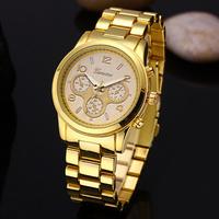 New Arrival TOP Brand Geneva Full Steel Wristwatches Women Dress Quartz Watch Fashion Men Luxury Brand Watches Relogio