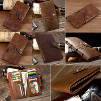 New Brown Men's Leather Long Wallet Pockets ID Card Clutch Cente Bifold Purse