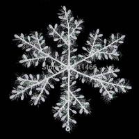 25*25*0.5cm White  Plastic Christmas Snowflake Sheet Ornament Merry Xmas Tree House Decoration With Shining 10 pcs-22000539
