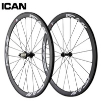 Super Light,ICAN full CARBON wheels clincher 38mm 700c road bike,Basalt Braking Surface Ti-QR Skewers powerway R13,Sapim spokes
