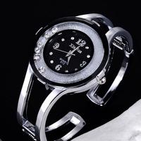 Women Stainless Steel Strap Watch  Fashion Ladies quartz bracelet Wristwatches Moving Rhinestone Women dress watches