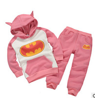2014 New Autumn Winter warm thermal batman Children Tracksuit casual kids clothing sets boys and girls hoodie and coat+trousers