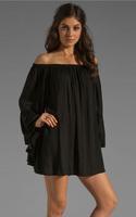2014 Fashion Slash Neck Draped Dress Boohoo Women's Chiffon Solid Ruffle Sleeve Off Long Sleeve Loose Straight Dress AY657228