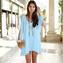 2014 New Fashion Plus Size Clothing Women Summer Elegant V Neck Long Sleeve Loose Fitting Casual Chiffon Dress Free Shipping
