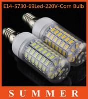 Ultra-bright 6Ps/lot E14 5730 SMD 69LED led light Led lamp 220V Corn Bulbs 69LEDs Lamps 5730 SMD 20W Energy Efficient Free Ship