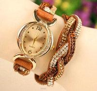 2014 New Fashion Latest Popular Hawaiian Style Sparkling Rhinestone Women Leather Chain Quartz Watches Women Wristwatch Relogio