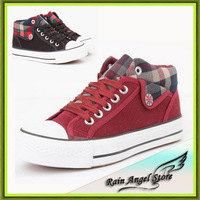 New Cuffs High-top Sneakers Girl Fat Casual Shoes Women Sneakers Plaid Rivet Lace Fashion Canvas Shoes