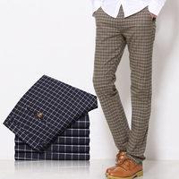 England Autumn and winter woolen influx of men's casual pants plaid Korean young men Slim feet trousers pants fashion pants