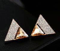 Hotsale New Arrival Rose gold plated Swiss zircon Triangle design Personality crystal stud earrings fashion korean 4color option