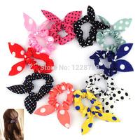 New Fashion Hair band Polka dot hair rope Accessories Bow Tie hair Accessory Stripe Rabbit Ears 10Pcs/Lot Free Shipping H6559 Y