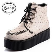 Original Rose.g Women 2014 HARAJUKU platform shoes boots fashion comfortable women's goth punk boots polka dot martin boots