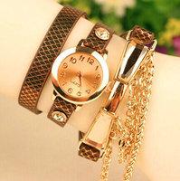 2014 New Fashion Crystal Rhinestone Multilayer PU Leather Quartz Dress Watches Women Ladies Casual Wristwatch relogio feminino
