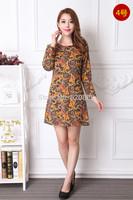 2014 plus size clothing quinquagenarian long-sleeve dress slim fashion mother clothing