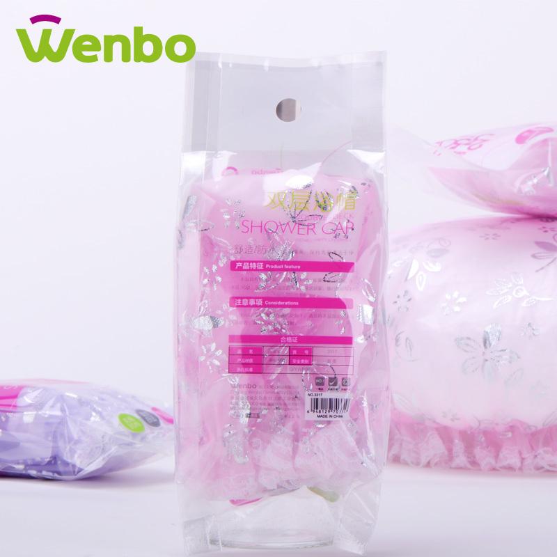 Lace print New Waterproof 2 Layer Bath Shower Cap Hat Hotel Home Shower Bathing Clear Hair Caps Free Elastic Band Hat Hair Bath(China (Mainland))