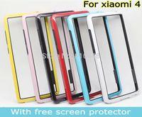 New Arrival Anti-Skid Dual-color Frame Bumper Soft TPU gel silicon Case Cover for Xiaomi 4 mi4 mi M 4 M4 xiaomi4 and screen film