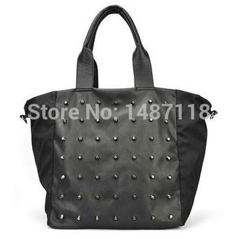 Мода 2015 известный бренд заклепки сумка почтальона сумочки сумки валентина черный PU кожаные сумки имитация женщин сумки на ремне , бесплатная доставка