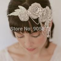 2014 NEWEST vintage Wedding hair accessories handmade Bride pearl crystal headbands free shipping XH156
