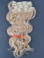 wholesale+retail synthetic wavy hair extensions 18 20 22 24 inch 10pcs140g set M6/613- Medium Brown Mix With Bleach Blonde