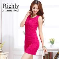 Plus size S-XXXL women summer solid color tank dress 2014 sleeveless slim hip slim waist fashion basic dress short mini dress