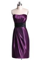 Women Stylish Strapless Short Open Back Zipper Draped Ruffle Sheath Cocktail Dresses with Black Sash