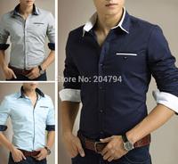 C220 New Fashion Men's Luxury Slim Fit Long Sleeve Casual Dress Shirts 6 Size