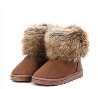 2014 new hot Winter cow imitation fox fur snow boots women flat shoes fashion cotton women warm winter shoes free shipping