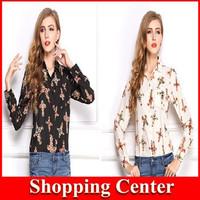 Freeshipping 2014 women new Autum/Spring Vintage women Long sleeve Print Cross STAUROS Blouse chiffon Shirt dropshipping