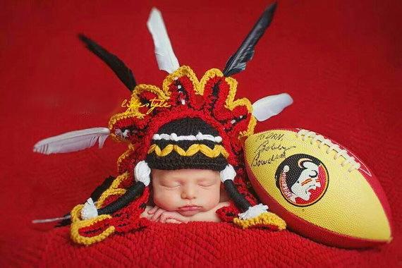 free shipping,Crochet Baby Indian chief hat,Newborn Indigenous people handmade hat, ,Newborn Photo prop NB-3M Christmas gift(China (Mainland))
