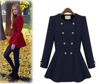 2014 new fashion women long coats and jackets fur winter brand buttons warm clothes blends freeshipping