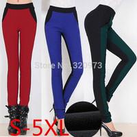 S-5XL size 2014 autumn new Korea style extra plus size elastic waist patchwork women fleece warm winter pants free shipping