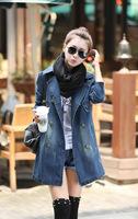 women denim jacket 2014 Autumn&Winter jackets for women denim fashion trench coat free shipping