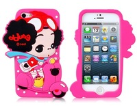 3D Motorbike Girl Silicone Protective Case for iPhone 5  dirty proof,scratches protection