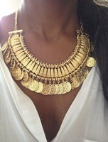 2014 Hot Sale Vintage Boho Coin Chuncky Tassel Necklaces Fashion Silver Turkish necklace Indian Style Jewelry Chirstmas KK-SC817