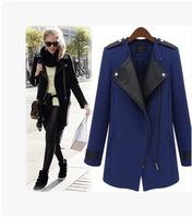 2014 New Winter/Fall High Quality Fashion Women Casual Black Contrast PU Leather Trims Oblique Zipper Coat
