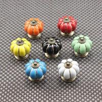 40mm 7 colors pumpkin cabinet knob Ceramic furniture handle Door Cupboard Handles Drawer Pull