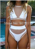 2014 new ladies swimsuit three-piece bikini perspective gauze bikini swimwear women brazilian bikinis free shipping DST-760