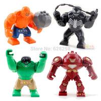 New High Quality Super Hero Big Size 7.5cm Mini figure Venom Hulk Buster 4pcs/lot building blocks toy Gift Free Ship