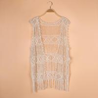 Z-7 2014 Women knit Lace Catton Cardigan Tassels Floral Crochet Blouse Tops blusas femininas Causal plus size Renda Overall