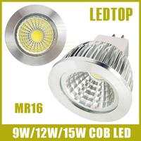 10PCS MR16 CREE Dimmable 9w/12w/15w High power led COB Spotlight AC DC 12-24V warm/cool white replace 30w/50w/70w Halogen Lamp