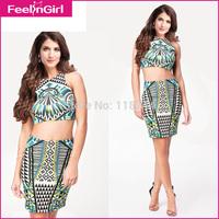 New 2014 Women Vintage Dress Fashion Cheap Designer Clothing Sleeveless Two Pieces Designs Mini Vestidos Summer Party  Dress 3
