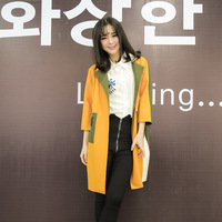 2014 real pictures with model three-dimensional cut trench outerwear