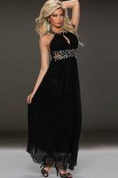 2015 Rhinestone Embellished Backless Maxi Dress vestido de festa longo Fashion Fall Party Evening Elegant Dress