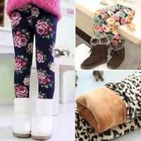 Hot sale 2014 Spring Winter New Fashion Children's 2-8 Year extra Warm Pant Girls Flower Thickening Print children Legging