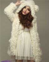 2014 Fashion Design Girl's Kawaii Lovely Bear Ear Coat Hoodie Hooded Fleece Outerwear Warm Jacket Coat Tops AY657242