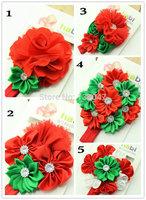 Baby Girls Headwear Christmas New Toddlers Kids Infants Crochet Hairband & Big Flower Headbands Children Accessories 10pcs