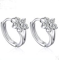 Romantic  cute snowflake style cubic zirconia jewelry  925 sterling silver clips earrings SKY-21